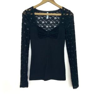 Free People Black Lace Long Sleeve Bow Top